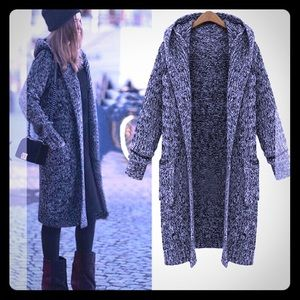 Boutique autumn hooded casual sweater coat